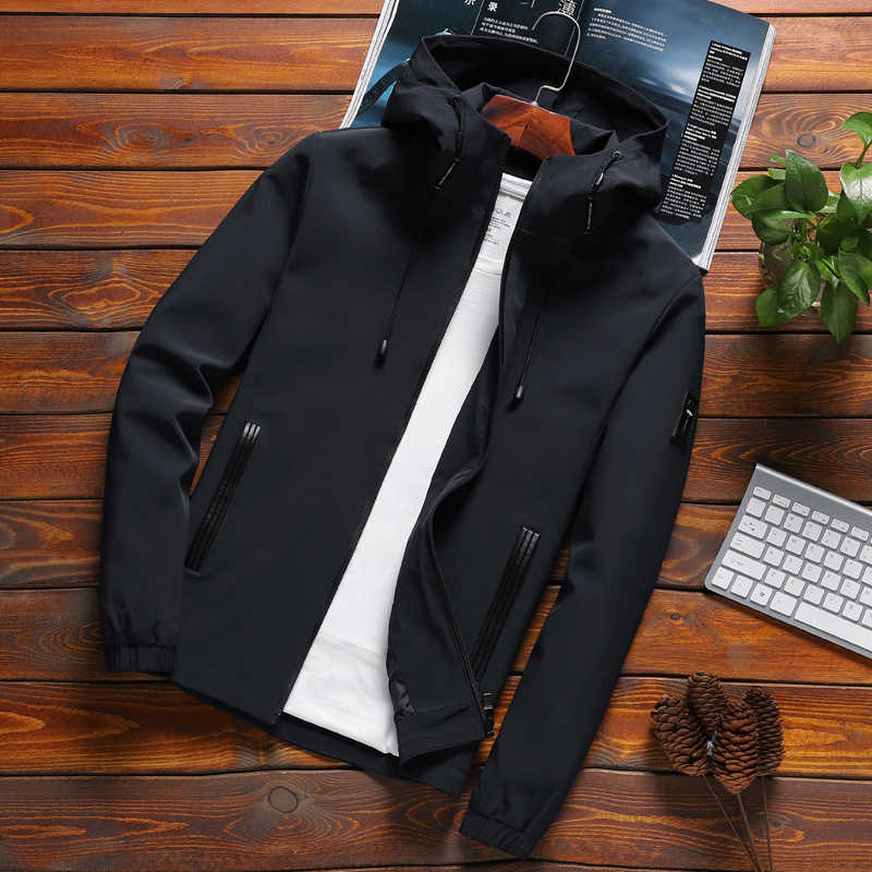 Jacket Men Zipper New Arrival Brand Casual Solid Hooded Jacket Fashion Men's Outwear Slim Fit Spring and Autumn High Quality K11