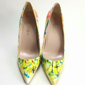 Image 2 - Keshangjia 2018春新しい女性パンプス印刷花靴セクシーな尖ったつま先薄い高ヒールパーティー結婚式の靴女性