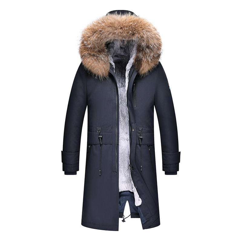 2019 High Quality Men Winter Coat Parka Alaska Thick Warm Padded Coats Long Jacket Hooded Long Winter Coat Men Real Raccoon Fur