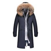 2019 abrigo de invierno de alta calidad para hombres, Parka, Alaska, grueso, cálido, acolchado, Chaqueta larga, con capucha, abrigo de invierno para hombres, piel de mapache Real