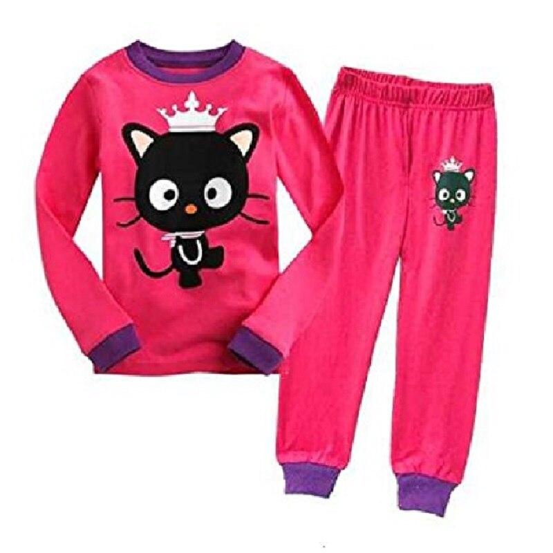 Hot Pink Cat Baby Girls Pajamas 100% Cotton Autumn Long Sleeve 2 3 4 5 6 7 Years Children PJ'S Boys Pijama Girl Home Clothes 1