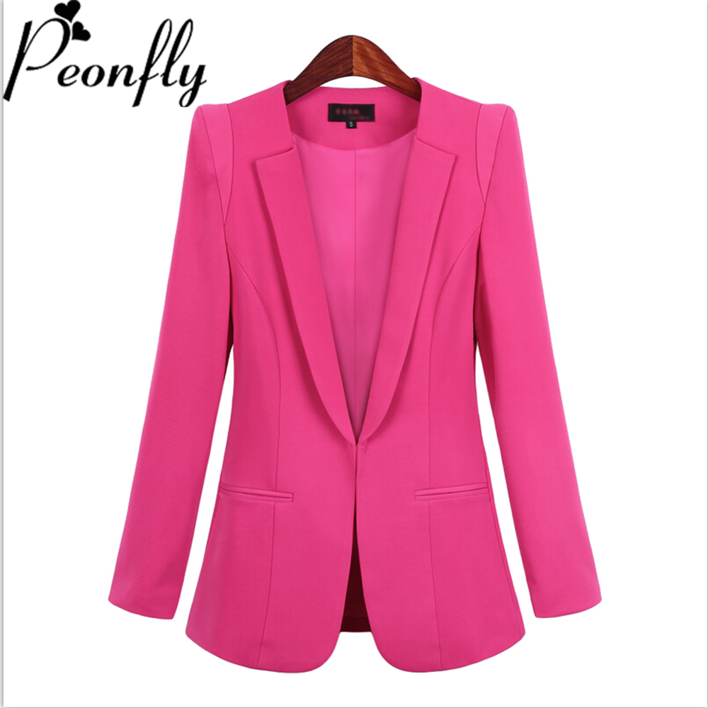 PEONFLY Autumn  Tops Women Slim Blazers Long Sleeve Solid Leisure Western Style Suits Female Notched Blazers Plus Size 4XL