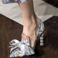 Flowers Print Sandals Leather Bow knot Shoes Woman Novel Style High Heels Women Pumps Party Sandalias Mujer Sexy Summer Shoes