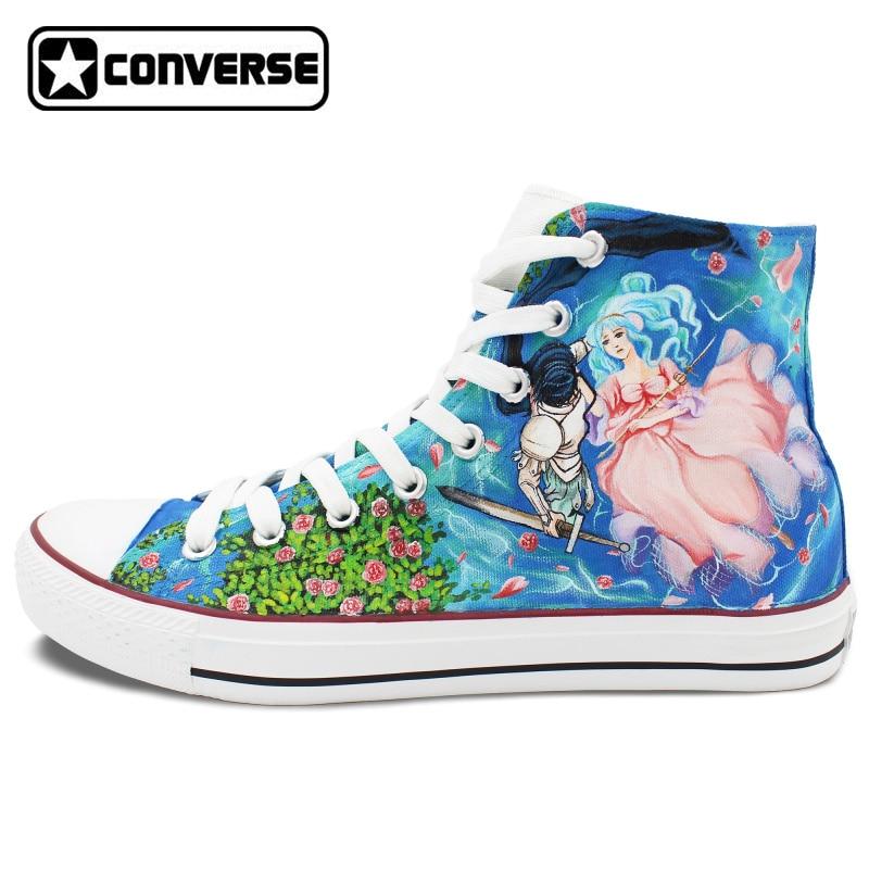 Prix pour Haute Top Converse Chuck Taylor Anime Chaussures Homme Femme Mages Conception Peinte à la main Sneakers Hommes Femmes Sneakers De Noël Cadeaux