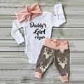 3 unids Precioso Bebé Recién Nacido Blanco Carta Traje Muchachas de Los Bebés Gorros Sombreros Vendas Harem Legging Sistema de la Ropa Outwear