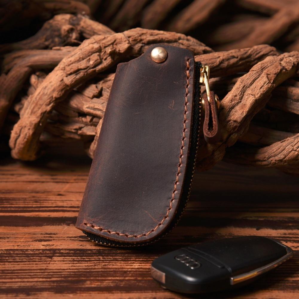 Genuine Leather Key Case  Wallet Men Holder Car Key Ring Chain Crazy Horse