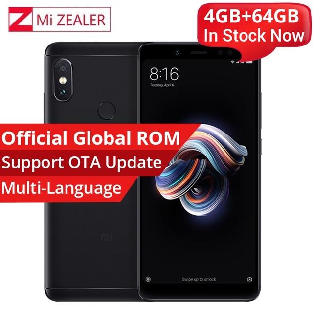 Original Xiaomi Redmi Note 5 4GB 64GB Smartphone Snapdragon 636 Octa Core 2160x1080 5.99 Inch 4000mAh 12MP Dual Camera  MIUI