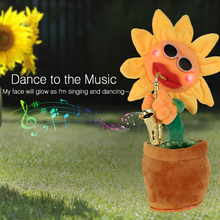 Singing&Dancing Flower Enchanting Sunflower with Saxophone Soft Stuffed Plush Toys Funny Electric Toys for Kids Christmas Gift