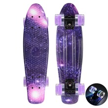 "CHI YUAN Plastic Skateboard Mini Cruiser Board 22"" X 6"" Retro Longboard Skate Long Board Graphic Printed Galaxy Purple Blue"