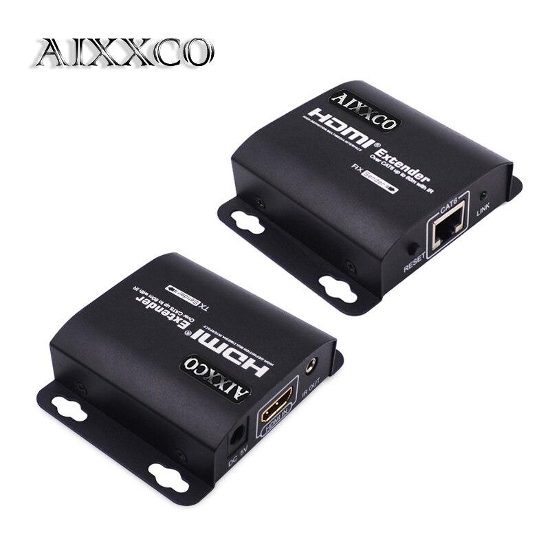 AIXXCO HDMI Extender 60 m HDMI Répéteur avec IR À Distance 1080 P HDMI Ethernet Network Extender sur Simple RJ45 Cat6 Cat7 Câbles