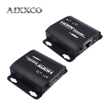 AIXXCO HDMI Extender 60m HDMI Repeater with IR Remote 1080P HDMI Ethernet Network Extender over Single RJ45 Cat6 Cat7 Cables