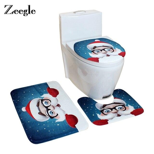 Zeegle Bagno Zerbino s Bagno Di Natale Decor Bagno Tappeto Assorbente Wc Zerbino Bagno Tappetini s Non-slip Doccia Zerbino s Bagno Tappetini Set