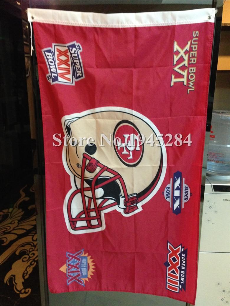 ᐊNFL San Francisco 49ers bandera casco Super Bowl New 3x5ft 90x150 ...