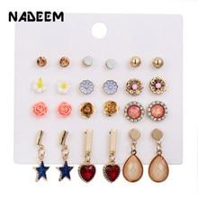 Gold Color Star Heart Pendant Stud Earrings Set 12Pairs/Sets Enamel Flowers Crystal Round Stud Earrings For Women Jewelry Gift colorful enamel gold color round party earrings