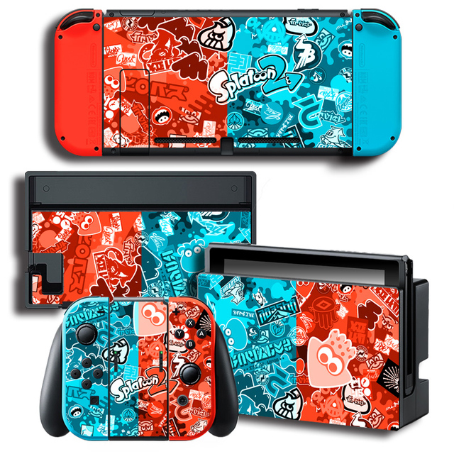 Game Splatoon 2 Skin Sticker for Nintendo Switch NS Skin Sticker for NS Console and Controller Protector Cover Decal Vinyl