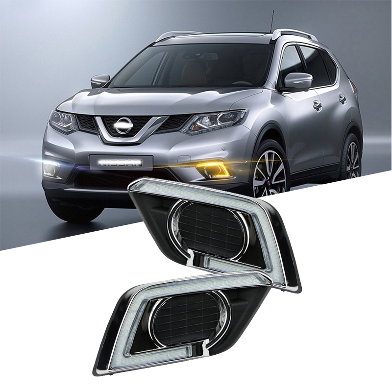 Auto Accessories Car Flashing 12V <font><b>LED</b></font> DRL Daytime Running Light Turning Signal Lamp for <font><b>Nissan</b></font> <font><b>X</b></font>-<font><b>Trail</b></font> Xtrail <font><b>X</b></font> <font><b>Trail</b></font> 2017 2018 image