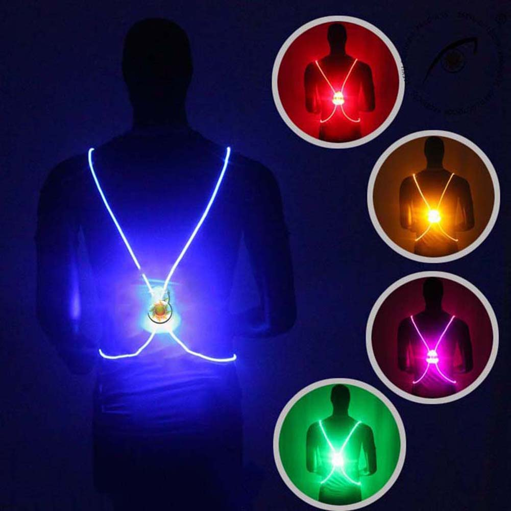 <font><b>LED</b></font> Reflective Belt <font><b>Vests</b></font> High Visibility Safety Reflection <font><b>Vest</b></font> Harness Outdoor Clothes For Night Running Cycling Walking H