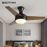 BOTIMI Practical LED Ceiling Fan For Low Ceiling Modern Fan Lights Remote Cooling Ceiling Fans Indoor Lighting Fan Lamps Fixture