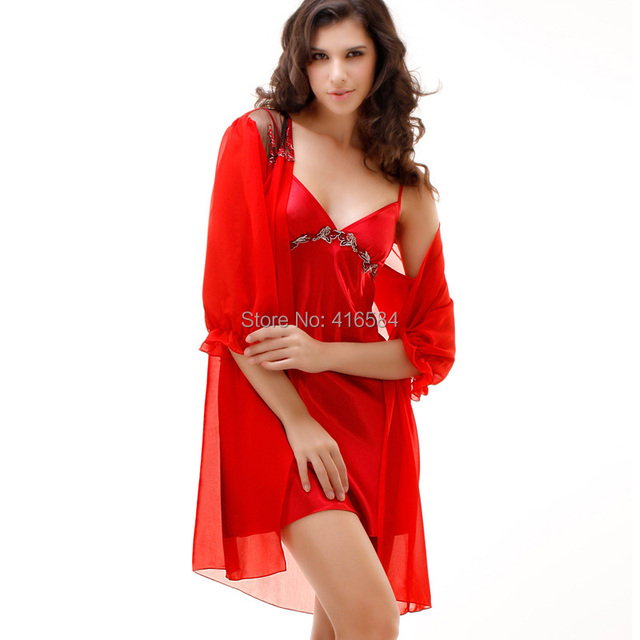Sexy Nightie Chiffon Robe and Satin Nightgown Set Womens Sleepwear Satin Slip Night Gown Jacquard Ruffled Sleeves Chiffon Robe
