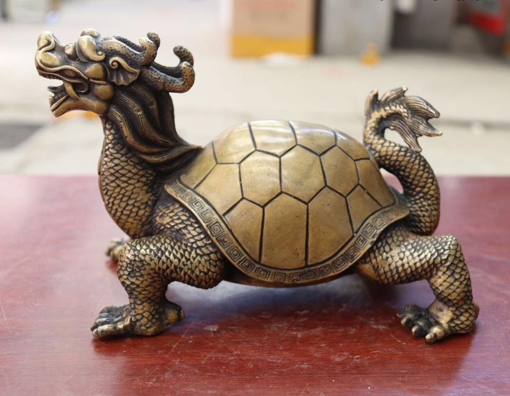 Chine FengShui Bronze cuivre richesse argent YuanBao Dragon tortue Statue - 2