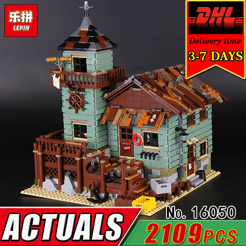 DHL LEPIN 16050 The Old Fishing Store Model Building Blocks Set Compatible Bricks Kit Educational Classic Kid Toy Children Gift lepin 16050 the old finishing store set moc series 21310 building blocks bricks educational children diy toys christmas gift