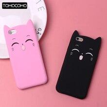 TOMOCOMO Cute 3D Silicone Cartoon Cat Pink Black Glitter Soft Phone Case Cover Fundas For iPhone 7 7Plus 6 5 5S  8 8plus XS Max