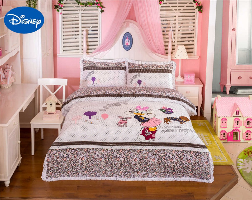 Embroidery price sheet - Lace Daisy Duck Bedding Set Girl S Baby Bed Sheets Duvet Cover Disney Cartoon Cotton Fabric Applique