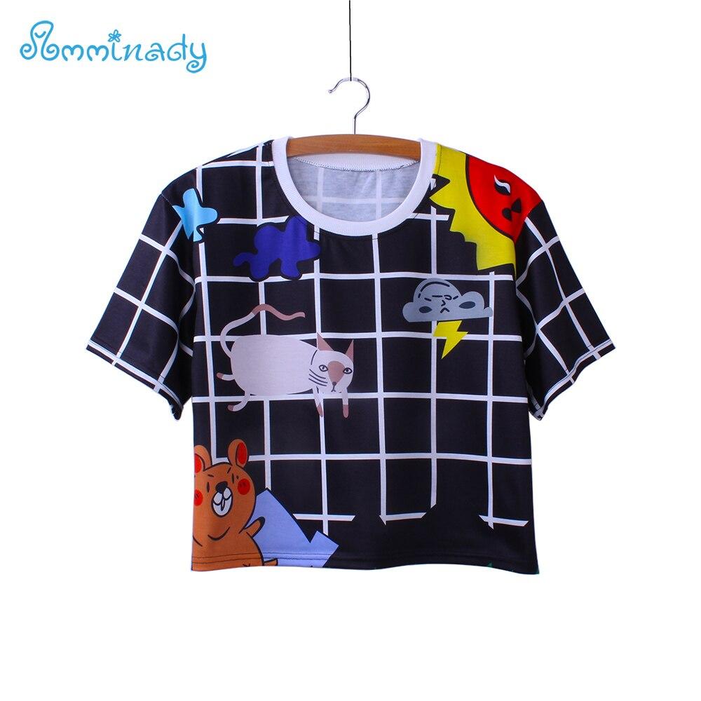 Design tshirt online free shipping - Harajuku Cartoon Print Crop Tees Women New 2017 Summer America Style Free Shipping Tshirt Wholesale Fashion Design Tops