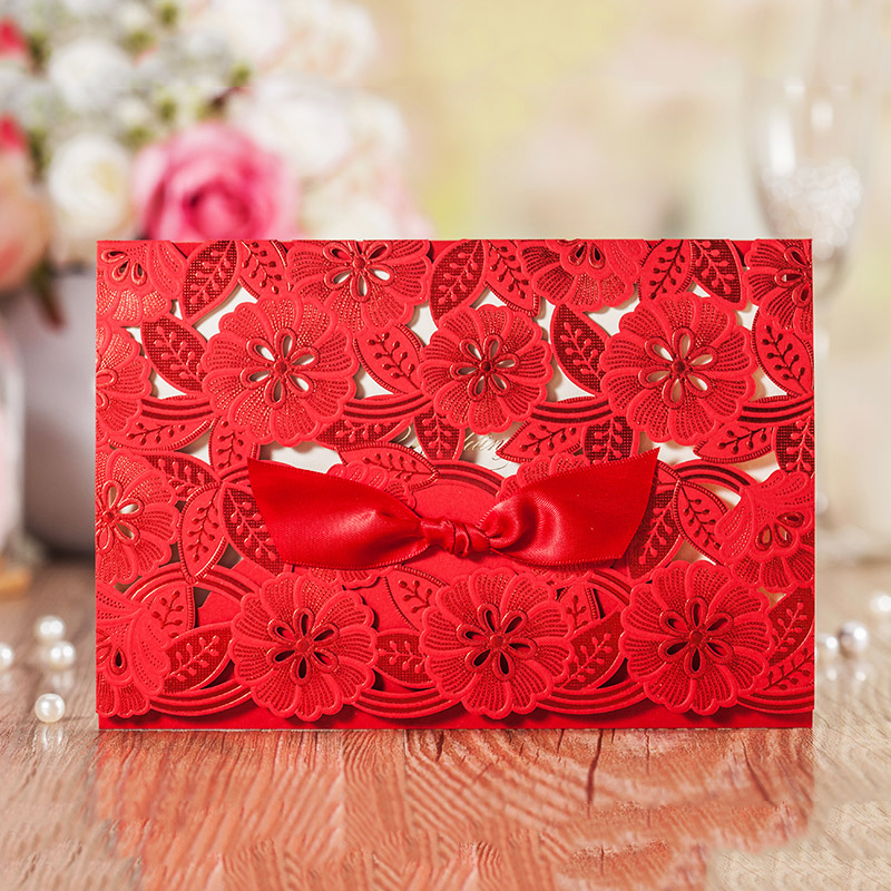Folding Type Red Laser Cut Ribbons Wedding Invitation Kit Printing Blank Paper Invitations Cards Decoration Casamento Convite design laser cut lace flower bird gold wedding invitations kit paper blank convite casamento printing invitation card invite