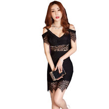c1933d743ee3 Sexy Petite Dress Women High Plunge V Neck Cold Shoulder Floral Lace Wrap  Hip Mini Dress High Quality Clubwear Vestido Renda