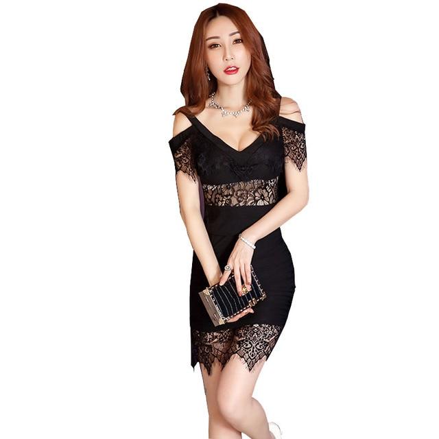 79b94422a Sexy Petite Dress Women High Plunge V Neck Cold Shoulder Floral Lace Wrap  Hip Mini Dress High Quality Clubwear Vestido Renda