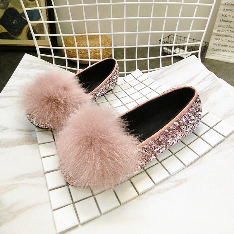 hiver Fourrure Ballerine 2018 Femmes Glitter Mocassins Slip Automne rose Véritable marron noir Chaussures Beige Plat Renard Sur Mode De 5q7Xxq