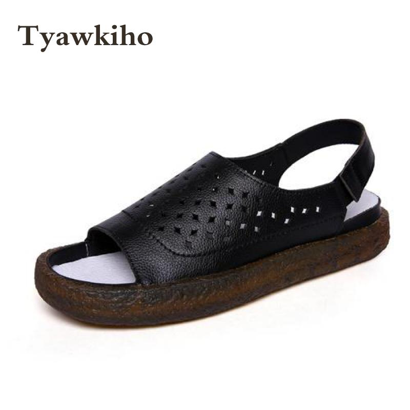 Tyawkiho Genuine Leather Women Sandals Hollow Out Summer Shoes 2018 Low Heel Black Sandals Set Foot Women Handmade Leather Shoe artmu fashion women sandals shoes hollow breathable handmade genuine leather shoes woman beach shoe soft bottom 2018 summer new