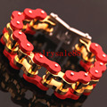 204g Heavy Huge Gold Red Tone Motorcycle Chain Bracelet Bangle Biker Strong Men's Stainless Steel Party Cuff Jewelry 23cm*22mm
