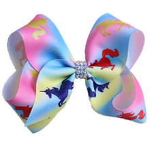 5 JoJo Bows Unicorn Rainbow Print Hair With Clips Horn For Girls Colorful Hairpins JOJO Siwa Bow Accessories