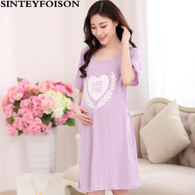 Vestido de maternidad de verano Carta Tamaño grande Mujeres embarazadas Pijamas que alimentan con mangas cortas Algodón fino Camisón de enfermería
