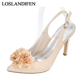 Sexy Summer Flowers Buckle Thin Heels Pumps Satin Silk Pointed Toe Woman Prom Wedding Dress Sandals Shoes NLK-A0138