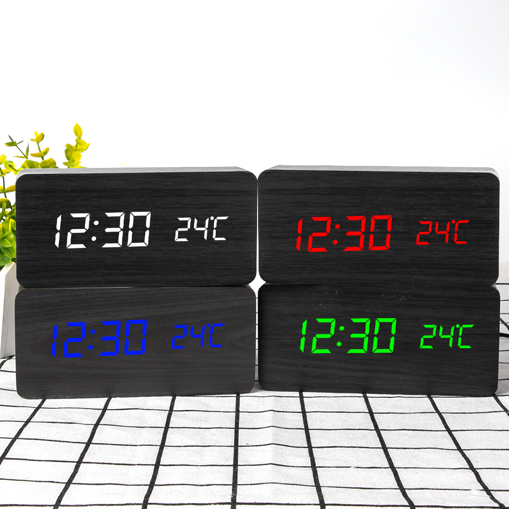 Desktop Wood Living Room Electronic Multifunction LED Display Desk Alarm Clock image