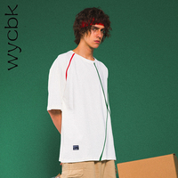 Wycbk Streetwear Striped Loose Style Men's hip hop Tshirt 2018 Summer Streetwear Oversized T shirt Men Cotton Casual Tee Shirts