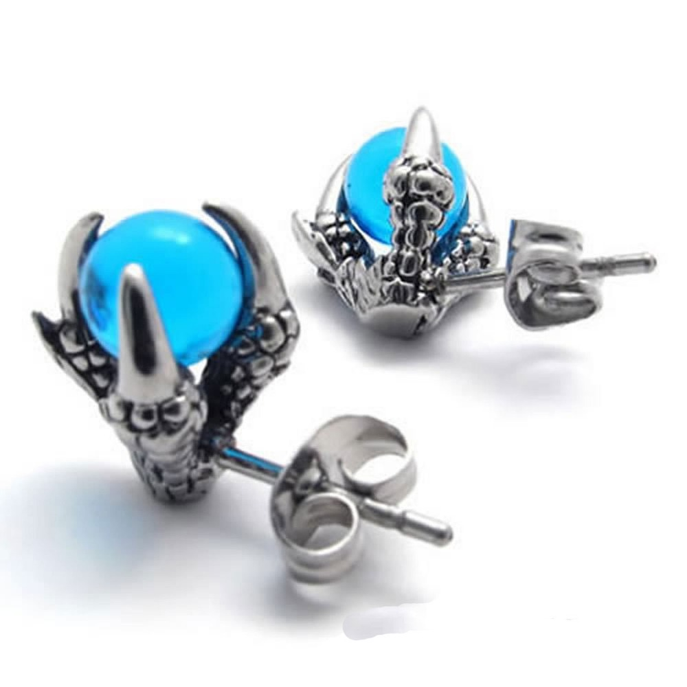UMGODLY Gothic Punk Dragon Claw Stud Earrings High Quality Stainless Steel Earrings Fashion CZ Stone Cool Man Women Jewelry