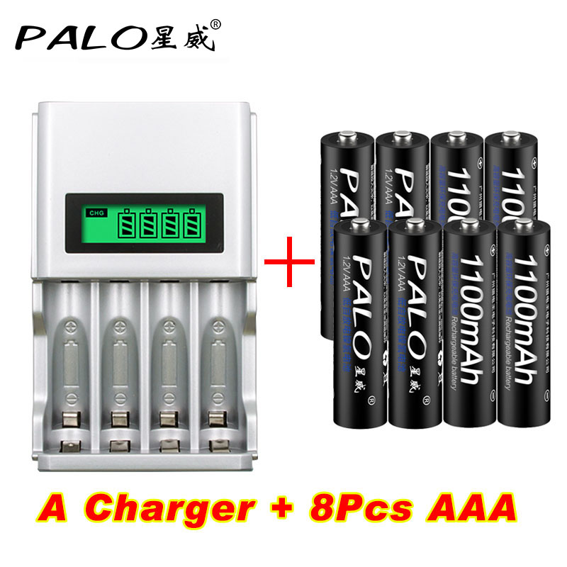 PALO Intelligent LCD Display Battery Charger For NI-MH NI-CD AA AAA Rechargeable Battery Charger+8pcs AAA Batteries palo 8 slots battery charger nc09 with indicator for aa aaa ni mh ni cd rechargeable battery 8pcs aa rechargeable batteries