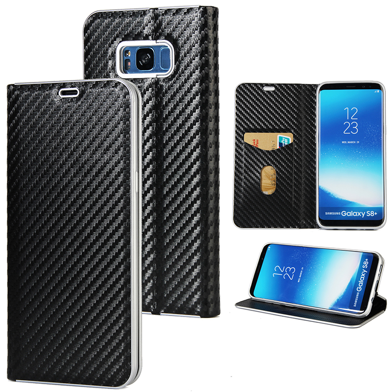 Leather Samsung Galaxy S8 Plus Carbon Fiber Wallet Magnetic Cover Flip Phone Samsung Note 8 S8 S7 Edge