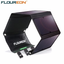 FLOUREON 28W Solar Panel with 3 USB Output Ports Waterproof Foldable Solar Charger for Smar