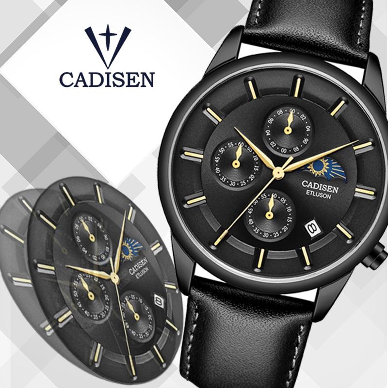 CADISEN 2019 New Mens Watches Top Brand Luxury Watch Men Moon phase Waterproof Leather Quartz Wristwatch Montre Homme