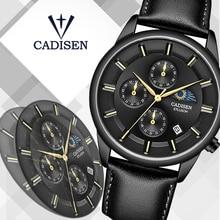 CADISEN 2019 New Mens Watches Top Brand Luxury Watch Men Moon phase Waterproof Leather Watch Quartz Wristwatch Mens Montre Homme