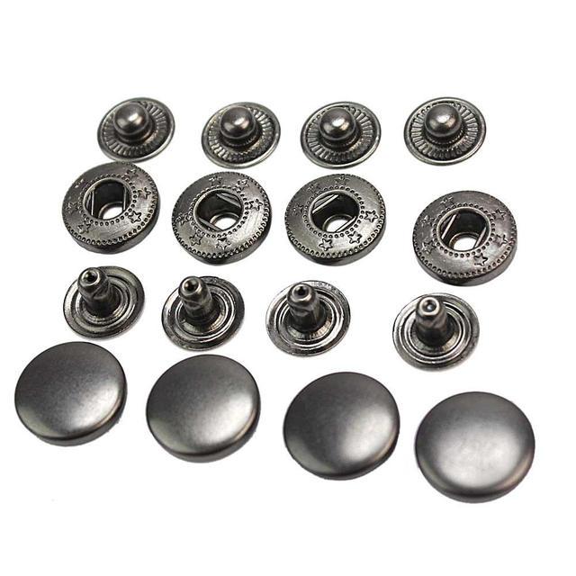 50 unids vendimia diámetro 13mm negro Snap fastener prensa Botones ...