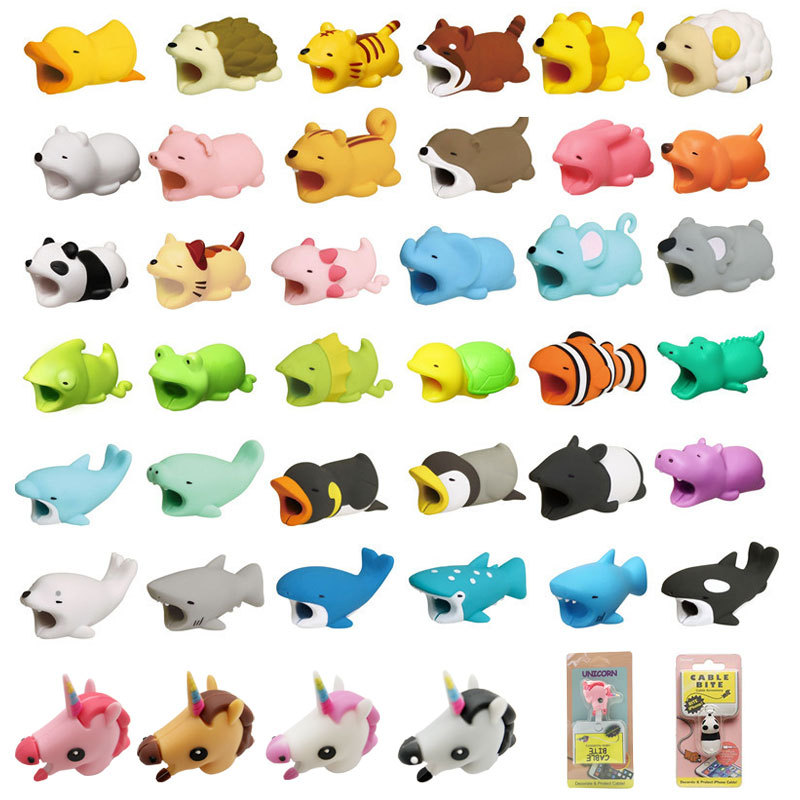 Cable Bite Glow In Dark Protector For IPhone Winder Phone Prank Toy Pvc Animal Dog Cat Rabbit Doll Model Funny Drop Shipping
