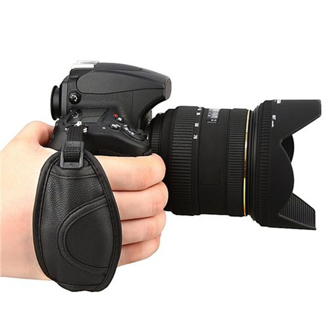 Black Leather Camera Wrist Grip Strap for Canon Nikon Sony Olympus SLR/DSLR