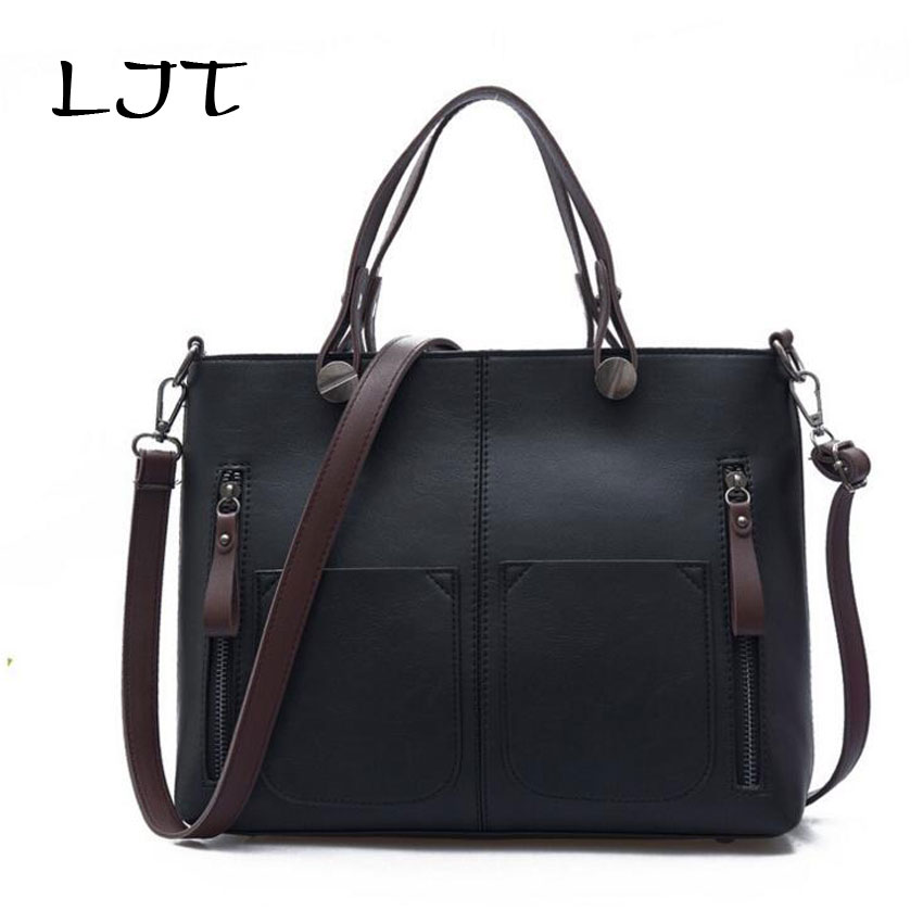 LJT 2017 New Summer Women's Simple Fashion Shoulder Bag Ladies Luxury Handbag Retro Casual Messenger Bag Large Capacity Tote 2017 new european and american large capacity foreign trade ladies package simple retro handbag fashion trend tote shoulder bag