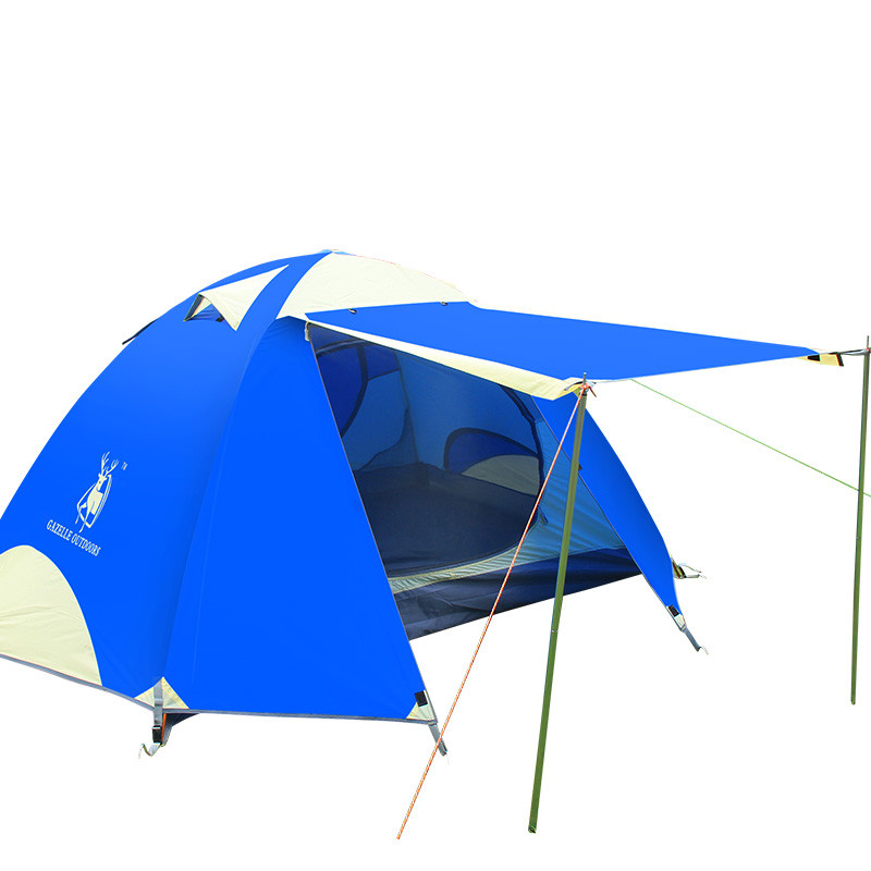 GAZELLE Outdoors 190T Camping Tent Aluminum Pole Waterproof Fabric Outdoor Double Layers Beach Camping Tent For 3-4 Man high quality outdoor 2 person camping tent double layer aluminum rod ultralight tent with snow skirt oneroad windsnow 2 plus